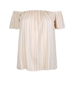 Curves Pink Stripe Bardot Neck Top | New Look