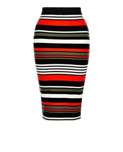 Petite Multicoloured Stripe Midi Skirt | New Look