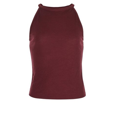 Teens Burgundy Ribbed High Neck Top | New Look