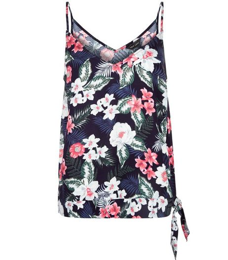 Blue Tropical Print Tie Side Cami  | New Look
