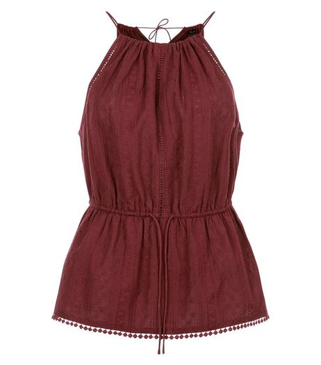 Burgundy Pom Pom Trim Peplum Vest  | New Look