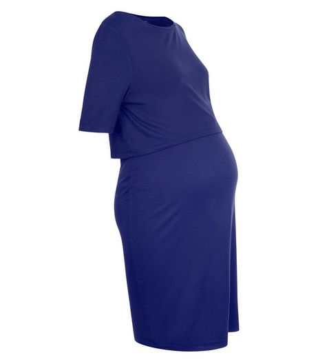 Maternity Navy Layered Nursing Dress  | New Look