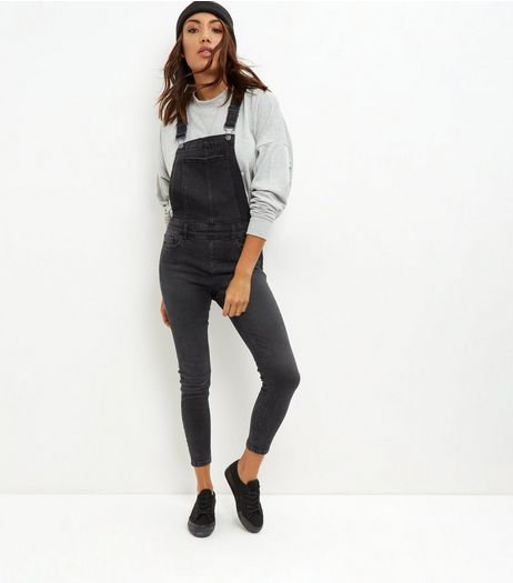 Black Cotton Mix Skinny Leg Dungarees | New Look