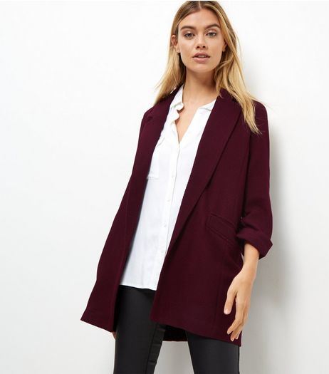 Tall Burgundy Waffle Textured Blazer  | New Look