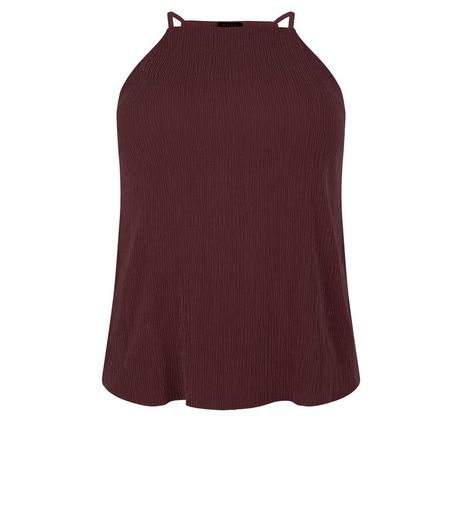 Curves Burgundy Pleated High Neck Cami | New Look