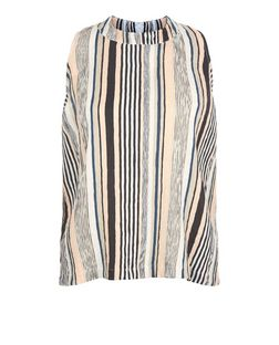Pink Pleated Stripe Sleeveless Top  | New Look