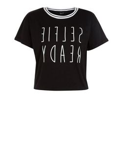 Teens Black Selfie Ready Print Crop Top | New Look