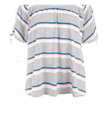 White Stripe Tie Sleeve Bardot Neck Top  | New Look