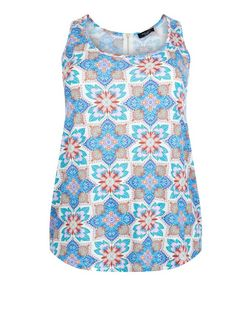 Curves Blue Abstract Print Zip Back Vest | New Look