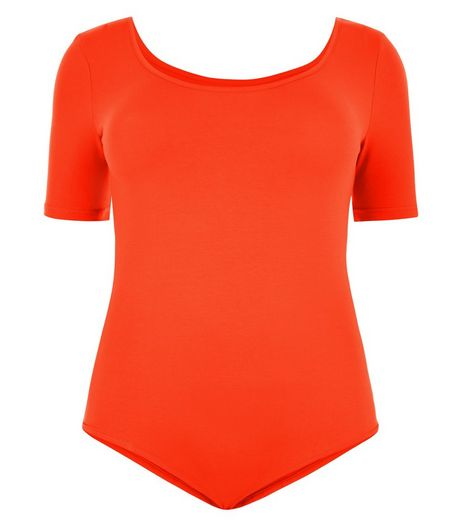 Curves Orange 1/2 Sleeve Bodysuit | New Look