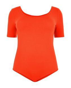 Plus Size Orange 1/2 Sleeve Bodysuit | New Look