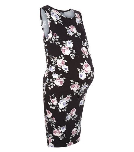 Maternity Black Floral Print Sleeveless Dress | New Look