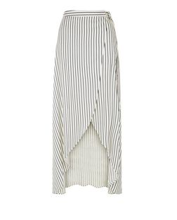 White Stripe Tie Waist Maxi Skirt | New Look