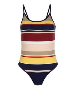 Blue Stripe Strappy Bodysuit  | New Look
