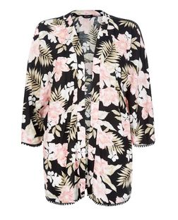 Black Tropical Print Crochet Trim Kimono  | New Look