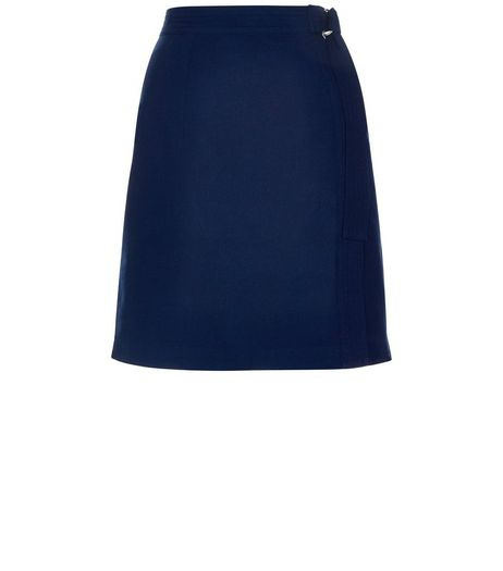 Navy Wrap D-Ring Belted Mini Skirt | New Look