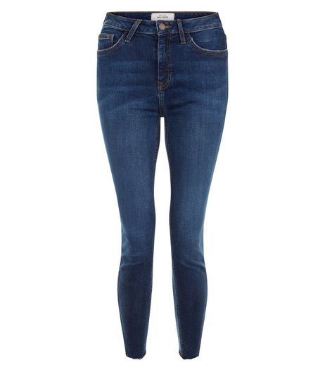 Blue Notch Hem Skinny Jeans | New Look