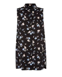 Black Floral Print Sleeveless Shirt  | New Look