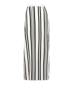White Stripe Split Side Maxi Skirt  | New Look