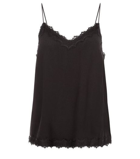 Black Lace Trim Cami  | New Look