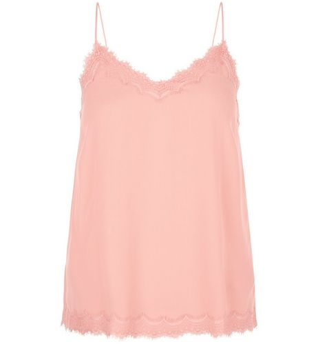 Mid Pink Lace Trim Cami  | New Look
