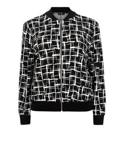 Curves Black Abstract Print Bomber Jacket | New Look