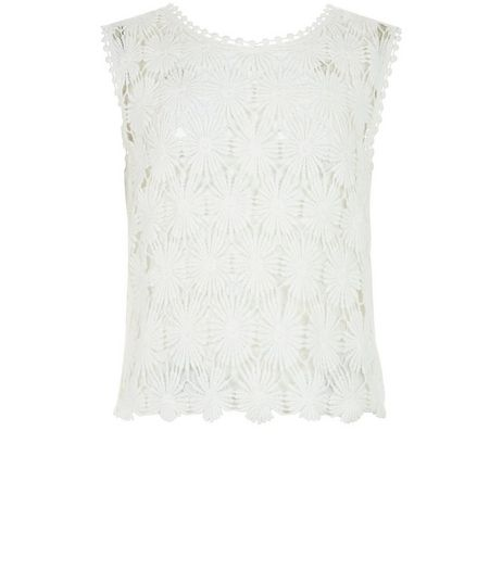 Teens Cream Crochet Sleeveless Top | New Look