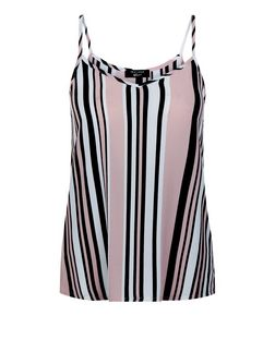 Teens Pink Stripe V Neck Cami | New Look