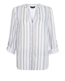 White Stripe Notch Neck Roll Sleeve Shirt  | New Look