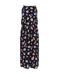 Teens Black Floral Print Culotte Jumpsuit | New Look