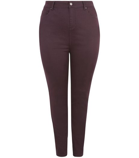 Curves Burgundy Skinny Jeans | New Look