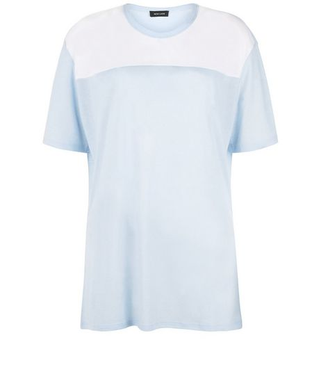 Pale Blue Colour Block T-Shirt  | New Look