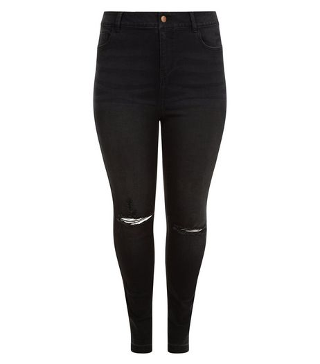 Curves Black Ripped Knee Washed Skinny Jeans | New Look
