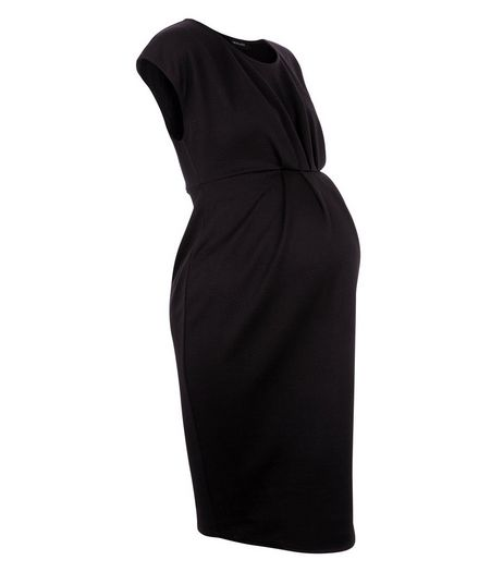 Maternity Black Cap Sleeve Dress | New Look