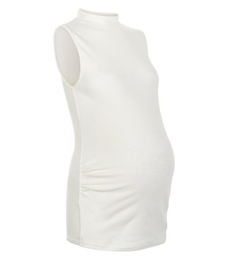 Maternity Cream Ribbed Turtle Neck Top | New Look