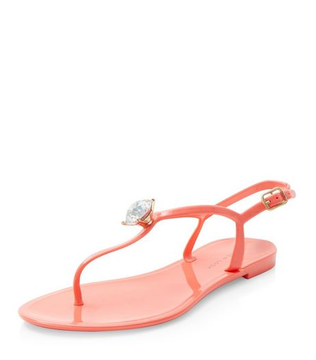 Coral Gem Stone Jelly Sandals  | New Look