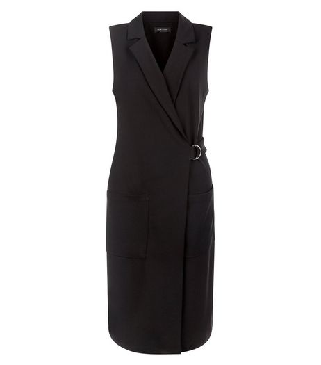 Tall Black D-Ring Belted Sleeveless Jacket | New Look