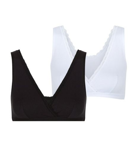 Maternity 2 Pack Black and White Bras | New Look