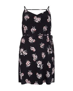 Curves Black Floral Print Tie Waist Slip Dress  | New Look