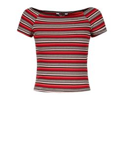 Teens Red Stripe Ribbed Bardot Neck Top | New Look