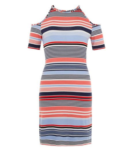 Teens Pink Stripe Cold Shoulder Dress | New Look