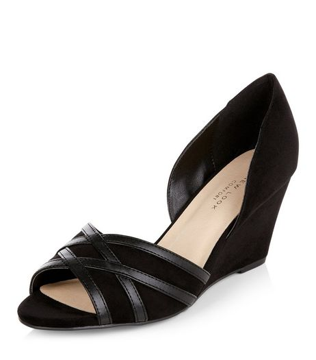 Wide Fit Black Comfort Suedette Peep Toe Wedges  | New Look