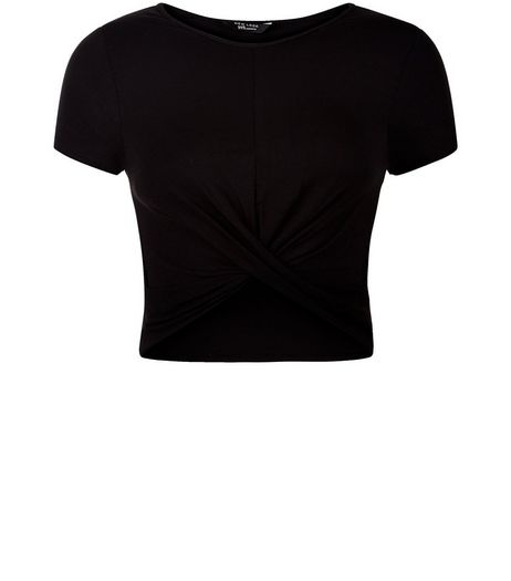 Teens Black Twist Front T-Shirt | New Look
