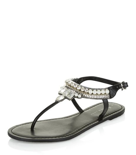 Wide Fit Black Leather Beaded Sandals | New Look