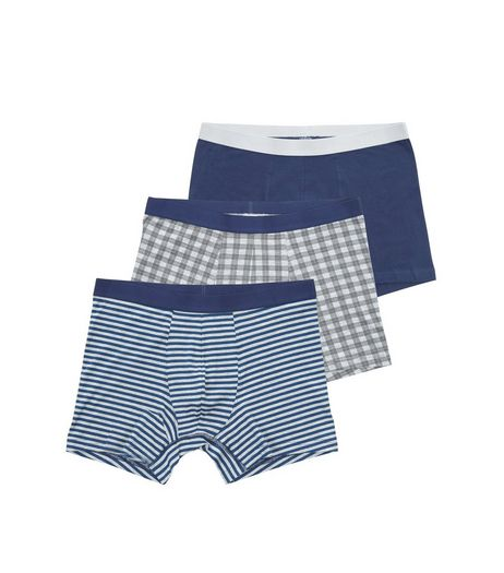 3 Pack Navy Stripe and Check Boxer Briefs | New Look