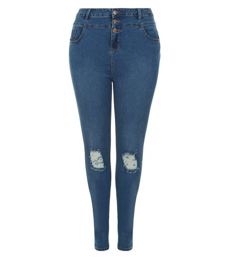Curves Blue Ripped Knee High Waisted Jeans  | New Look