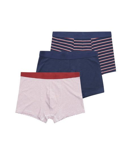 3 Pack Red and Navy Stripe Trunks | New Look