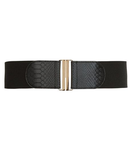Curves Black Stretch Belt  | New Look
