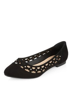 Wide Fit Black Suedette Floral Laser Cut Out Pumps  | New Look