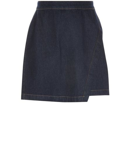 Curves Navy Wrap Denim Skirt | New Look